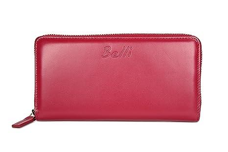 bec1b75f18adc BELLI Portemonnaie Milano Damen Leder Geldbörse Portmonee Geldbeutel aus  Echtleder für Frauen in Bordeaux - 19x10x2