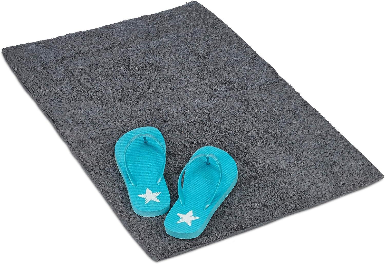 Relaxdays Alfombra de baño, Tapete Antideslizante, 100% algodón, 50x80cm, 1 Ud, Gris