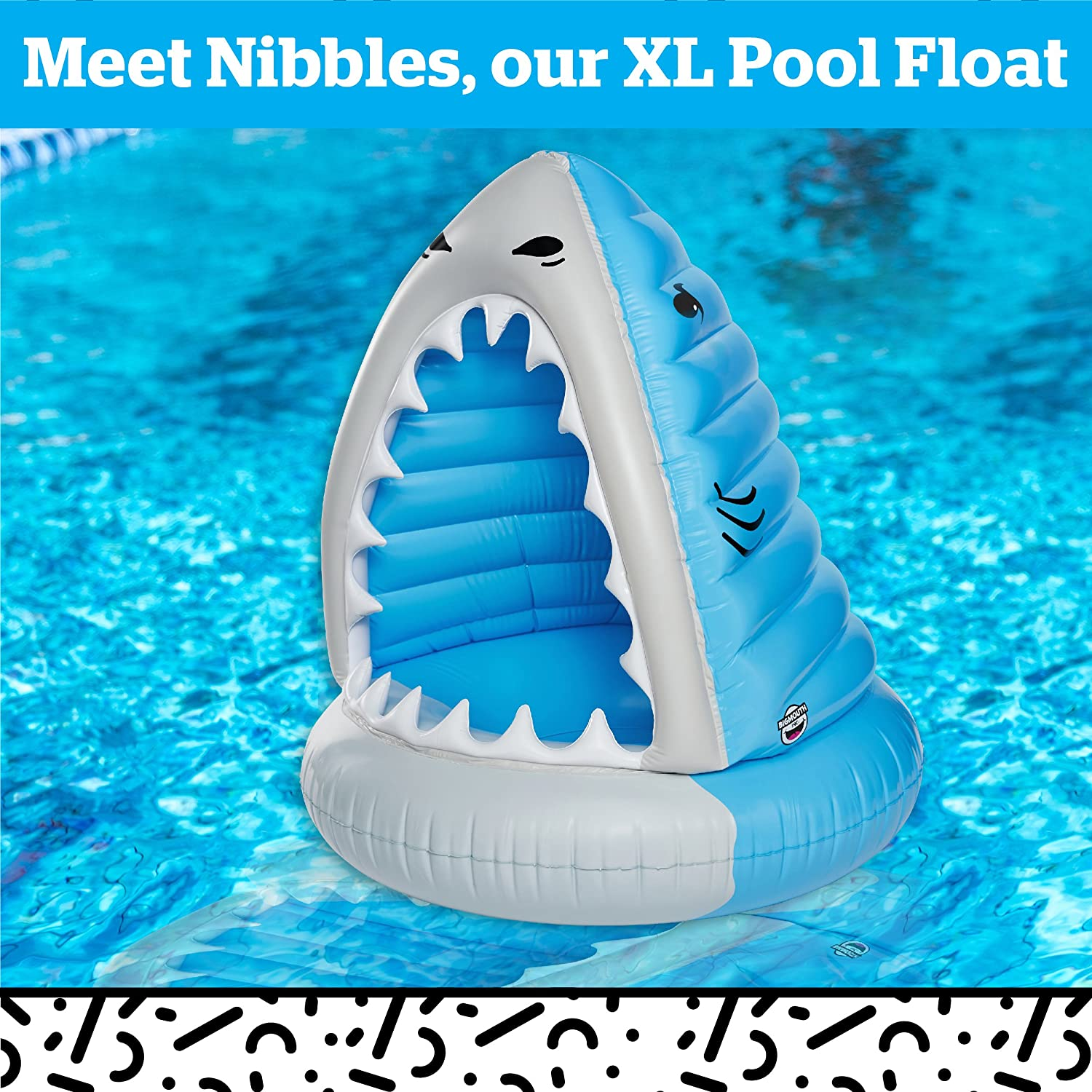 BMPF-0052 BigMouth Inc XL Shark Giant XL Pool Floats Funny Inflatable Vinyl Summer Pool or Beach Toy Patch Kit Included