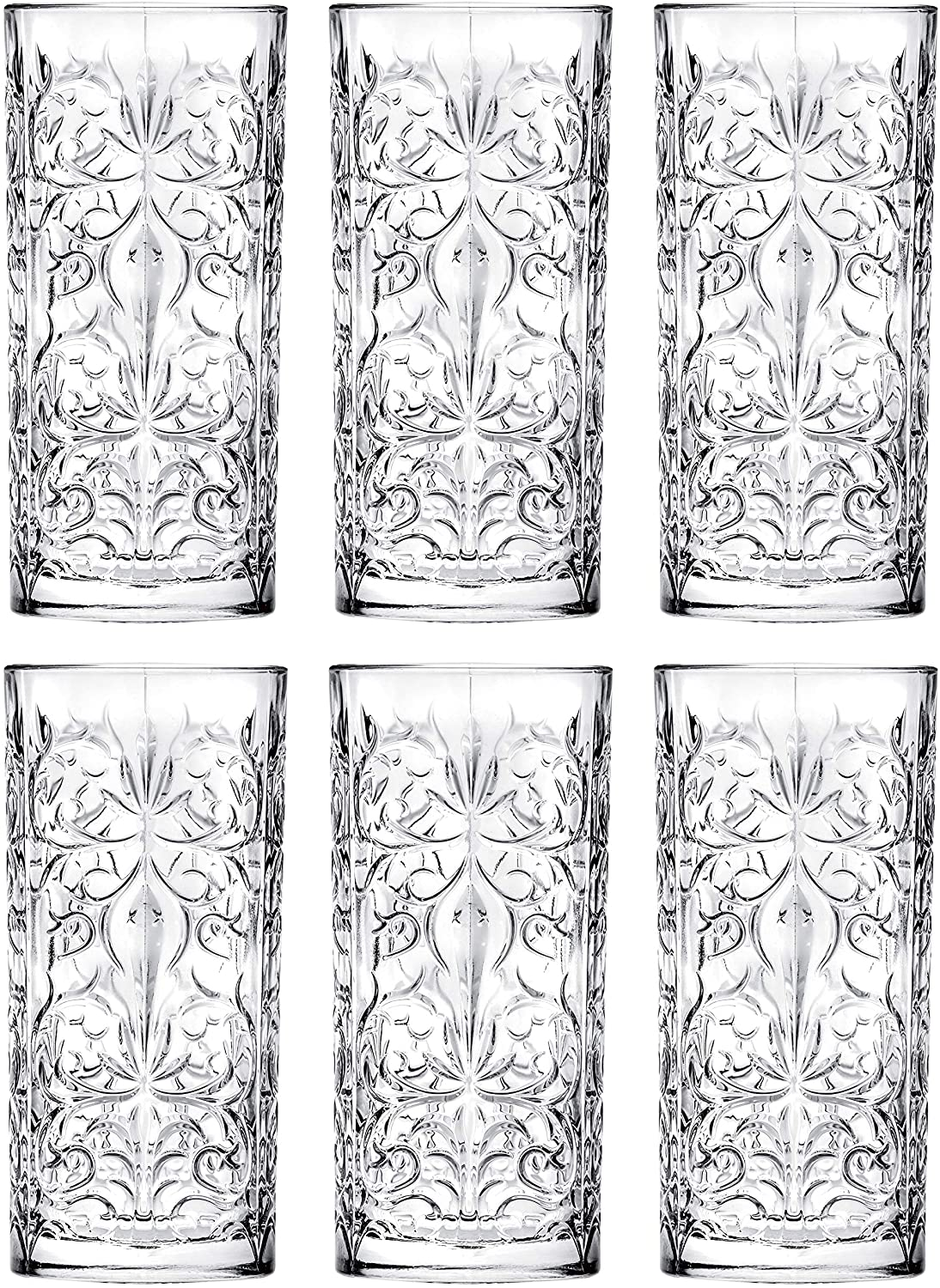 Highball - Glass - Set of 6 - Hiball Glasses - Lead Free Crystal - Beautiful Tattoo Design - Drinking Tumblers - for Water, Juice, Wine, Beer and Cocktails - 13 oz. - by Barski - Made in Europe