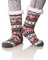 Dosoni Women's Snowflake Fleece Lining Knit Christmas Knee Highs Stockings Slipper Socks