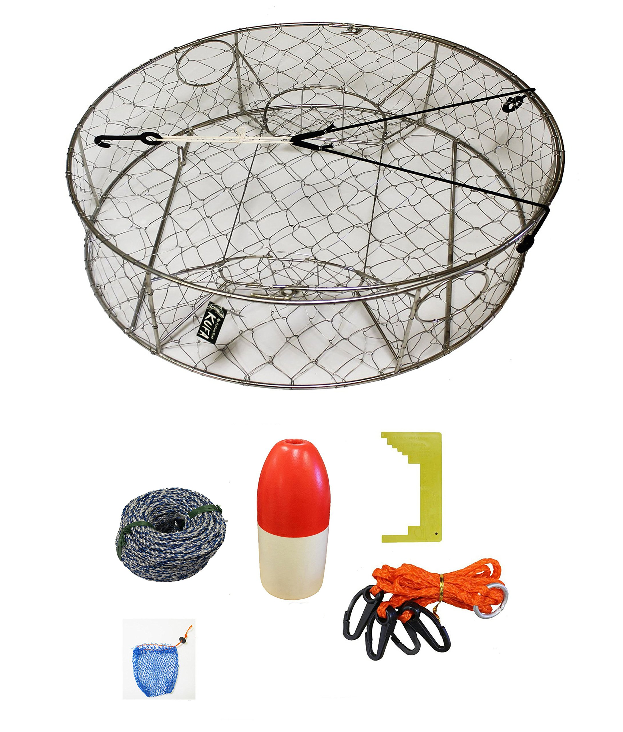 KUFA Stainless Steel crab trap with zinc anode & accessory kit (100' Non-Lead sinking line,Clipper,Harness,Bait Bag & 14'' Float) CT100+CAS3+ZIN1 by KUFA Sports