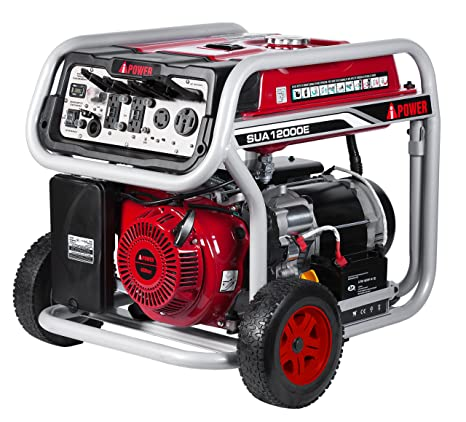 A IPower SUA12000E 12 000 Watt Gasoline Powered Generator With Electric Start GFCI Outlet Wheel Kit Included