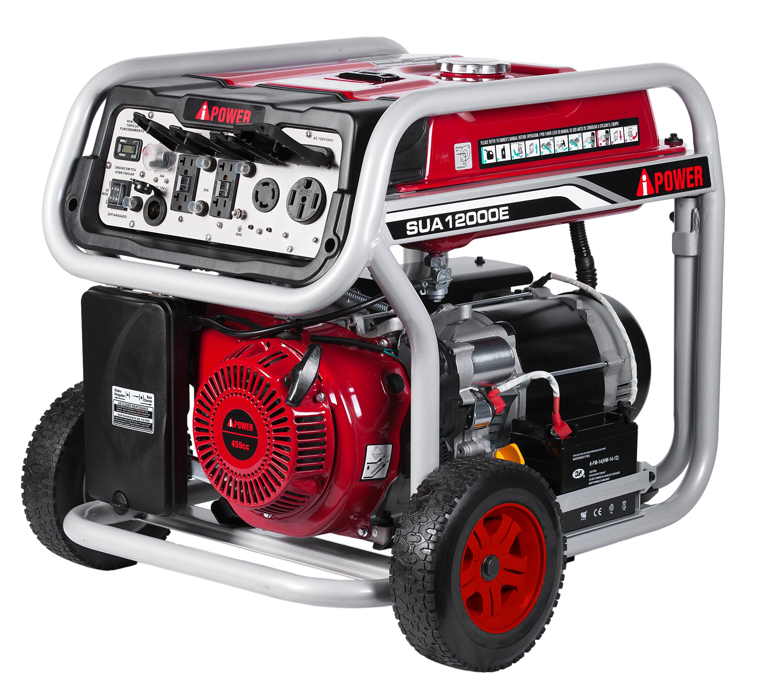 A-iPower SUA12000E 12,000-Watt Gasoline Powered Generator With Electric Start, GFCI Outlet Wheel Kit