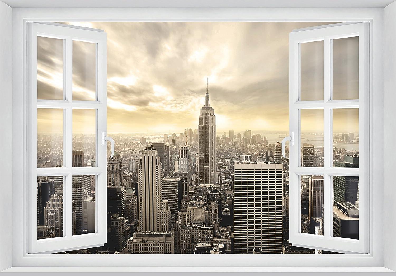 Murimage Fototapete New York Fenster 3d 183 X 127 Cm Usa Manhattan Skyline Kuche Wohnzimmer Buro Tapete Inklusive Kleister