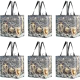 Reusable Grocery Bags Shopping Totes Heavy Duty Water Resistant Laminated Material Assorted Rustic Holiday Xmas Prints…