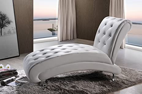 baxton studio pease faux leather upholstered crystal button tufted chaise lounge white