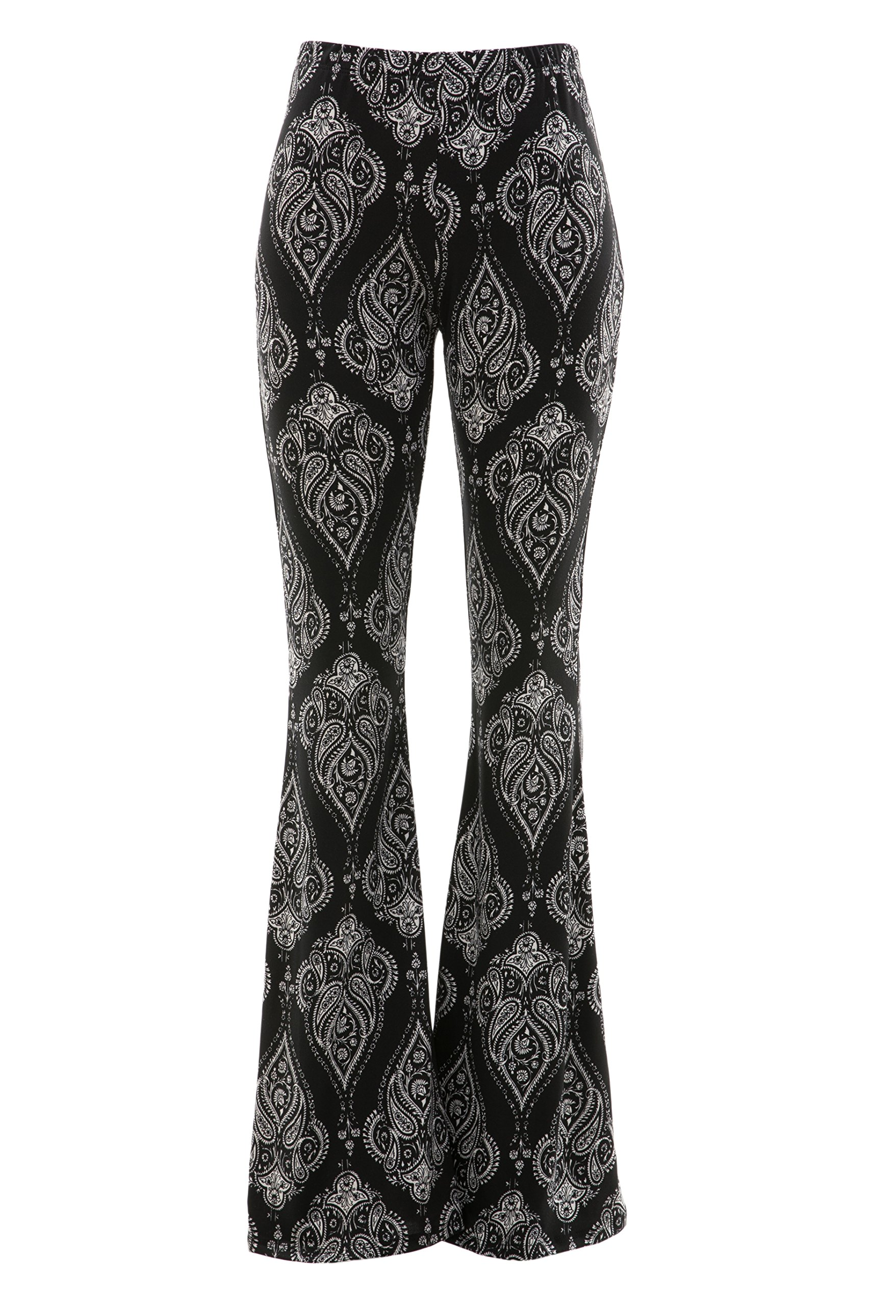 Fashionomics Womens Boho Comfy Stretchy Bell Bottom Flare Pants (S, BH33 BLK)