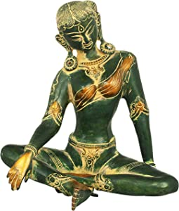 Exotic India The Ethereal Green Tara, Her Karnaphool Long Enough to Touch Her Shoulders - Brass Statue - Color Antique Green Gold Color
