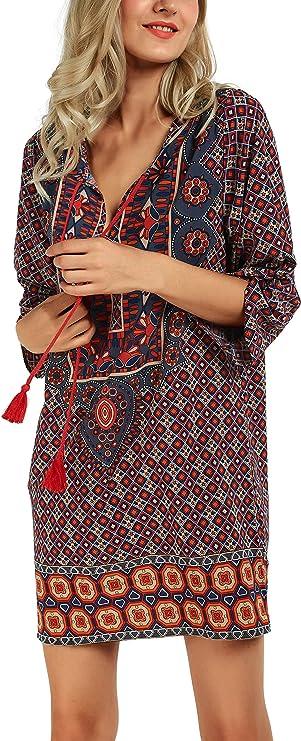 Urban GoCo Mujer Vestido Bohemio de Vestidos Túnica Camisas Tops de Flor Impresión del Vintage Etnico Suelto Vestido Mini (S, Pattern J): Amazon.es: Ropa y accesorios