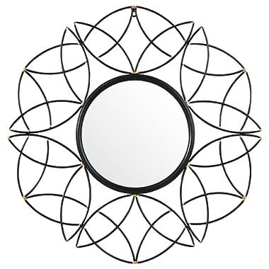 Rivet Modern Metal Floral Pattern Round Hanging Wall Mirror, 30.5 Inch Height, Black