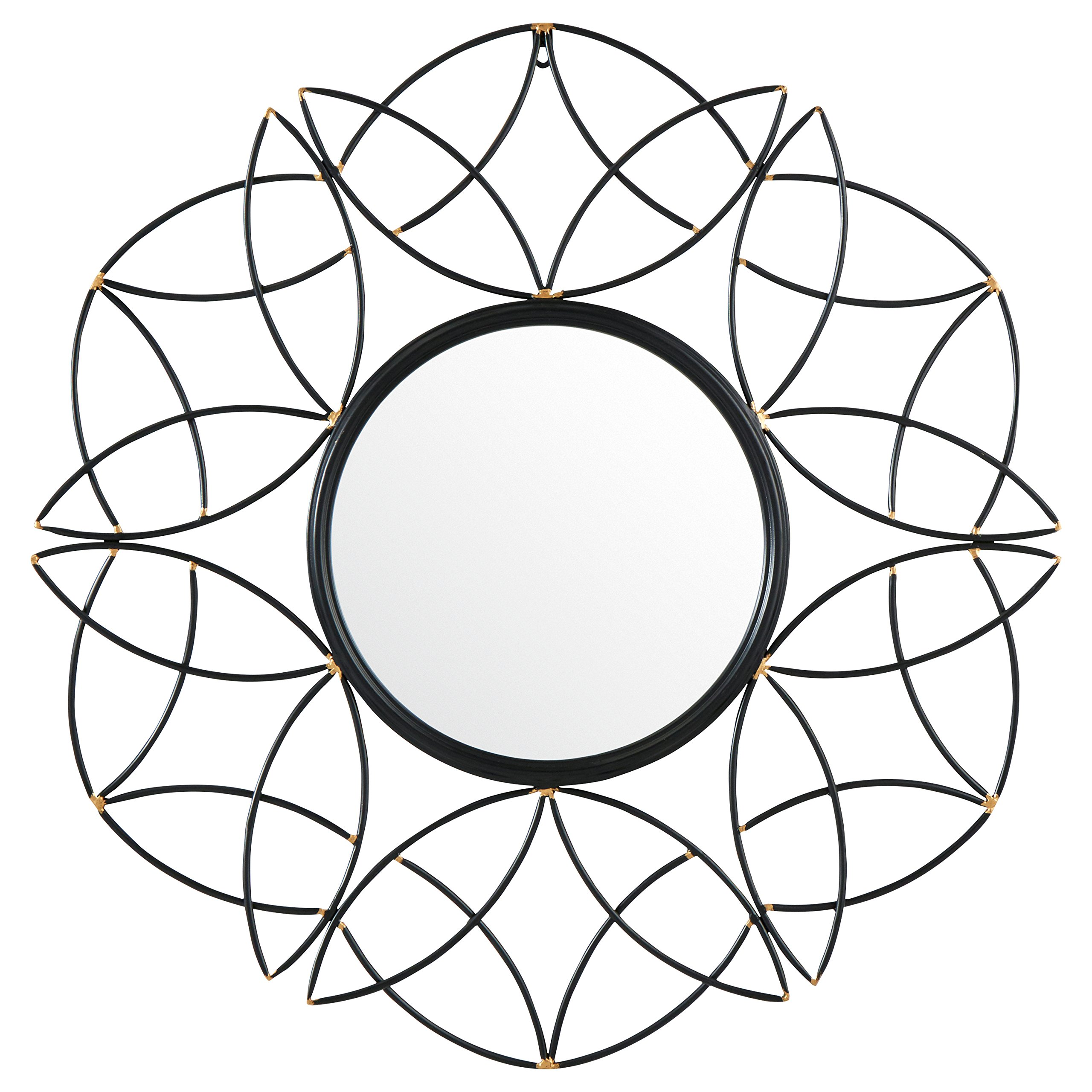 CDM product Rivet Modern Metal Floral Pattern Round Hanging Wall Mirror, 30.5 Inch Height, Black big image