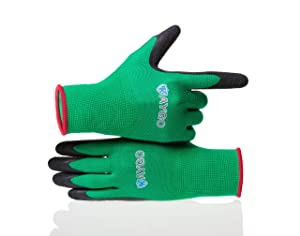 Work Gloves for women and men - Latex Textured Coated, KAYGO KG13L,Ideal For Gardening, Fishing, and Yard work,3 Pairs,including 1 Free Glove Clip