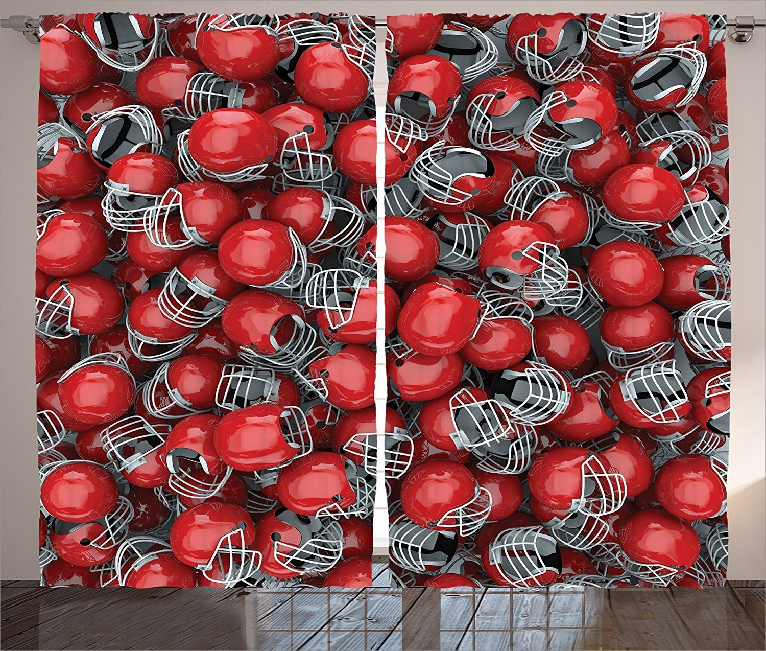 Sports Decor Collection College Football Helmets Headgear Competition Defense Sportsman Image Pattern Living Room Bedroom Curtain 2 Panels Set Red and Dimgray by sophiehome (Image #1)