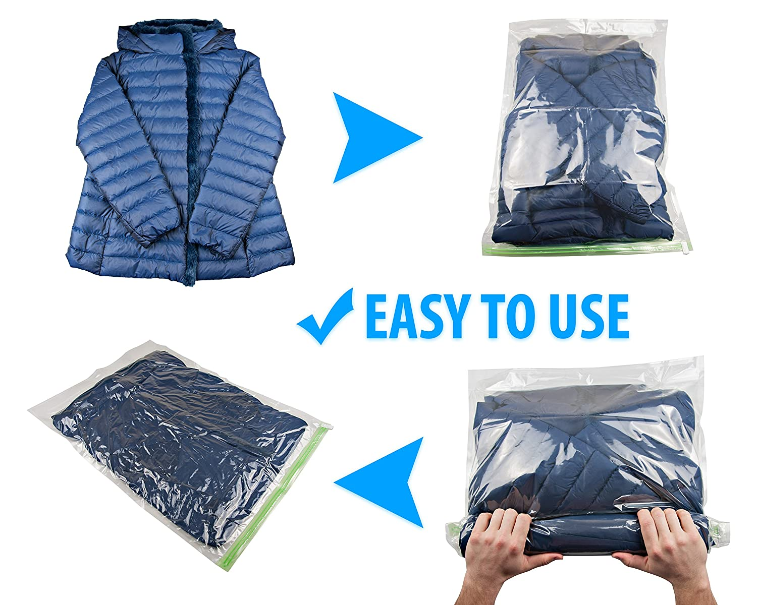 REUSABLE Packing Bags for Travel 5 Large 5 Medium No Need Pump or Vacuum