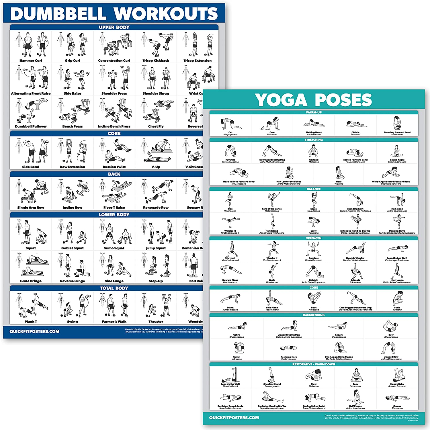 QuickFit Dumbbell Workouts and Yoga Poses Poster Set - Laminated 38 Chart  Set - Dumbbell Exercise Routine & Yoga Positions