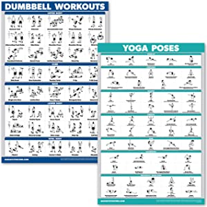 QuickFit Dumbbell Workouts and Yoga Poses Poster Set - Laminated 2 Chart Set - Dumbbell Exercise Routine & Yoga Positions