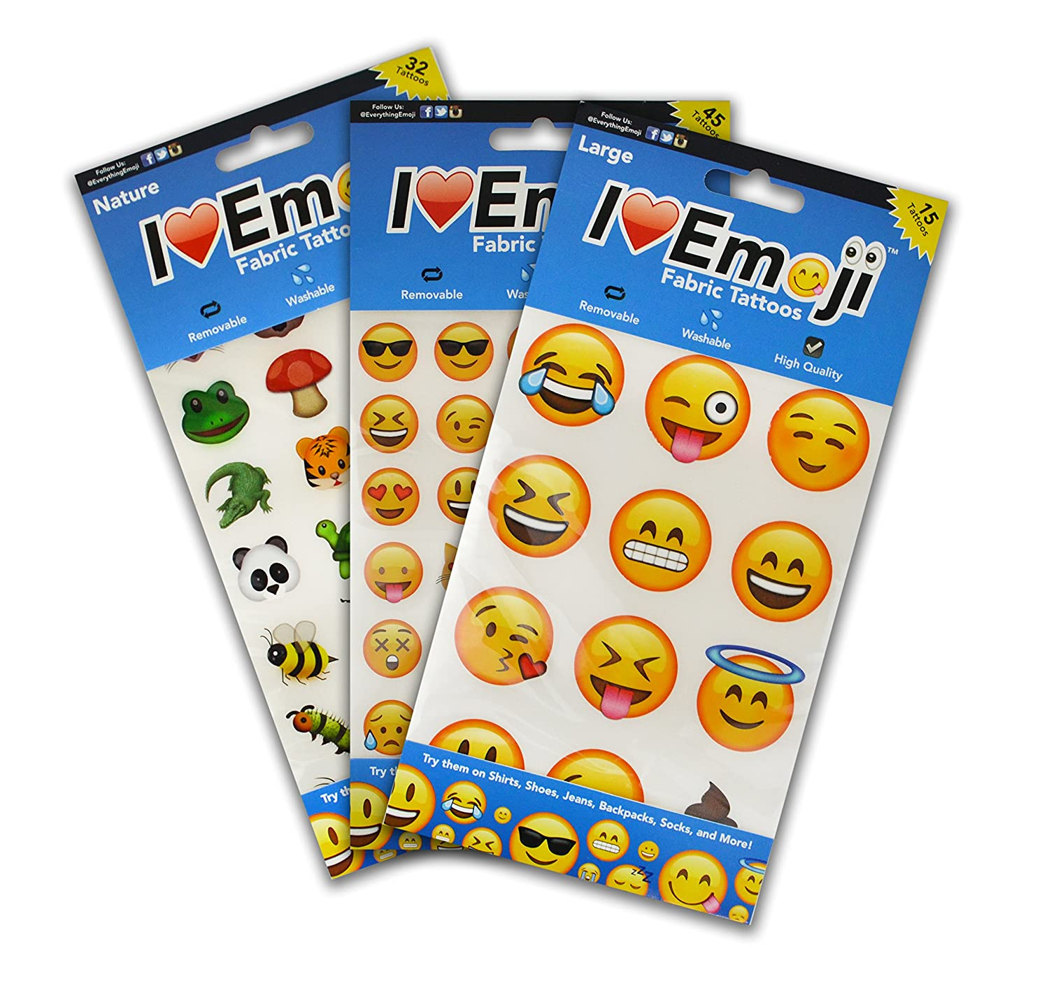I EM JI Emoji Clothing Tattoo Variety Pack 1 Large Face 1 Regular Size Face 1 Nature