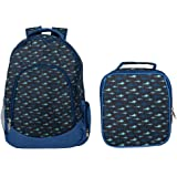 Reinforced Water Resistant School Backpack and Insulated Lunch Bag Set (1, Shark Ocean Blue)