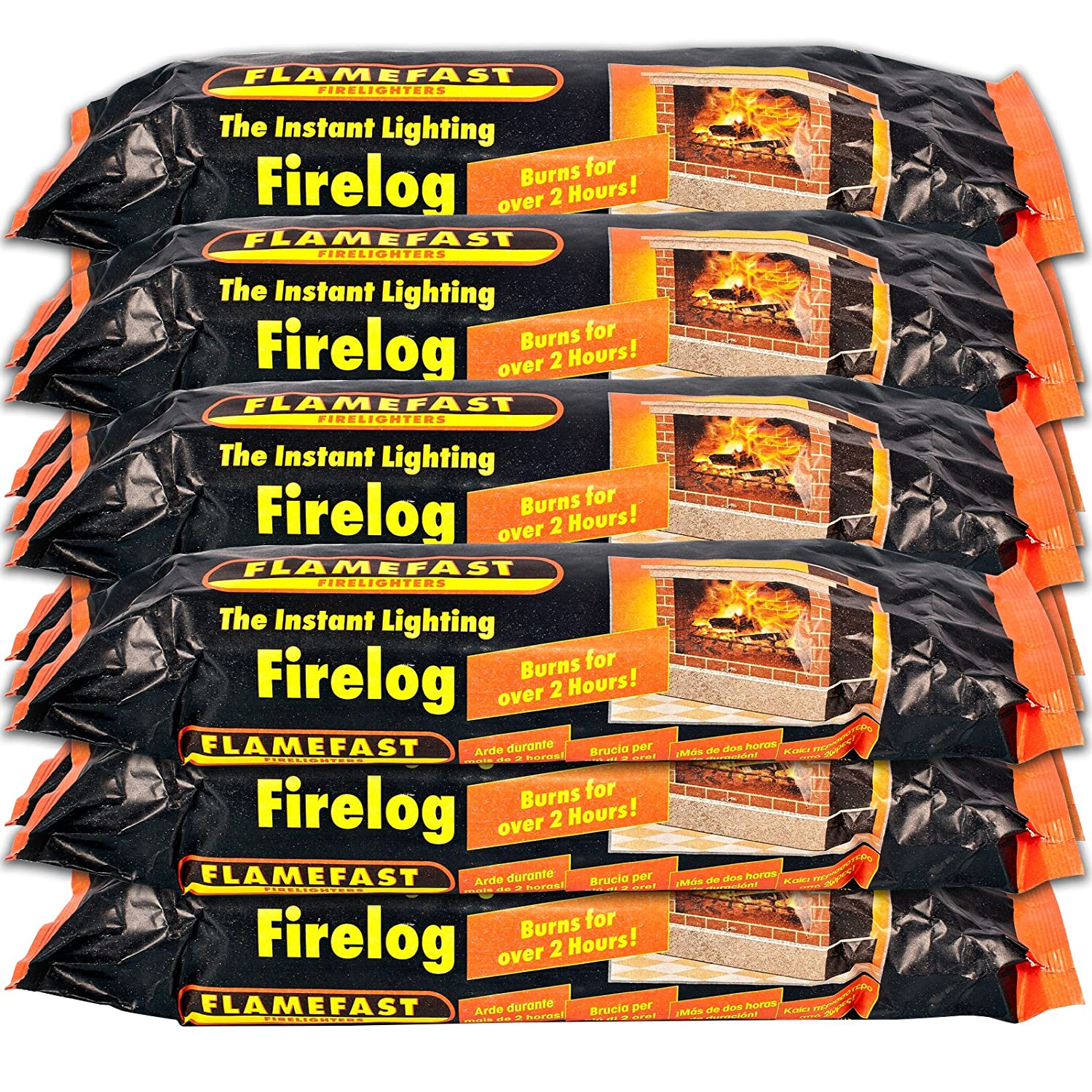 1 X Flamefast Instant Lighting Smokeless Firelog Burns for Over 2 Hours & Tigerbox Safety Matches