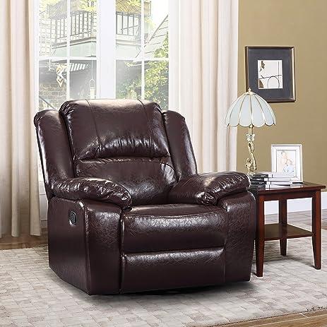 Amazon.com: Oversize Ultra Comfortable Bonded Leather Rocker and ...