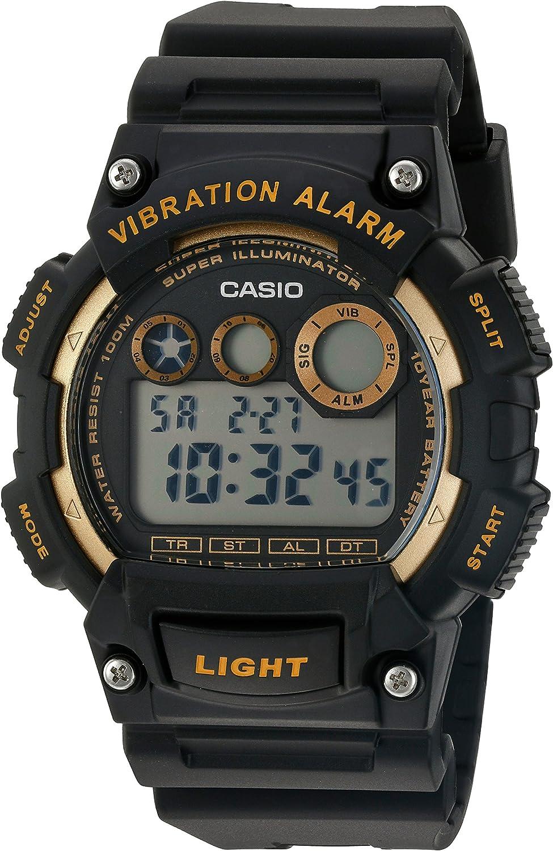 Casio Men s Super Illuminator Quartz Stainless Steel and Resin Watch, Color Black Model W-735H-1A2VCF