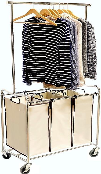 Amazoncom Decobros Heavy Duty 3 Bag Laundry Sorter Cart With