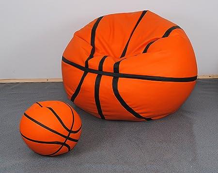 Juego de 2 puf de polipiel Diseño de balón de baloncesto: Amazon ...