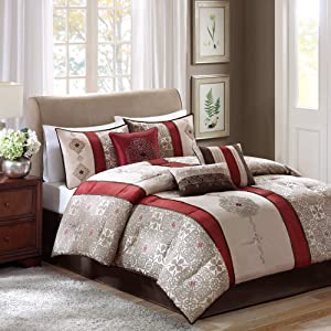 Madison Park Donovan Queen Size Bed Comforter Set Bed In A Bag - Taupe, Burgundy , Jacquard Pattern – 7 Pieces Bedding Sets – Ultra Soft Microfiber Bedroom Comforters