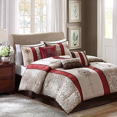 Madison Park Donovan King Size Bed Comforter Set Bed In A Bag - Taupe, Burgundy , Jacquard Pattern – 7 Pieces Bedding Sets – Ultra Soft Microfiber Bedroom Comforters