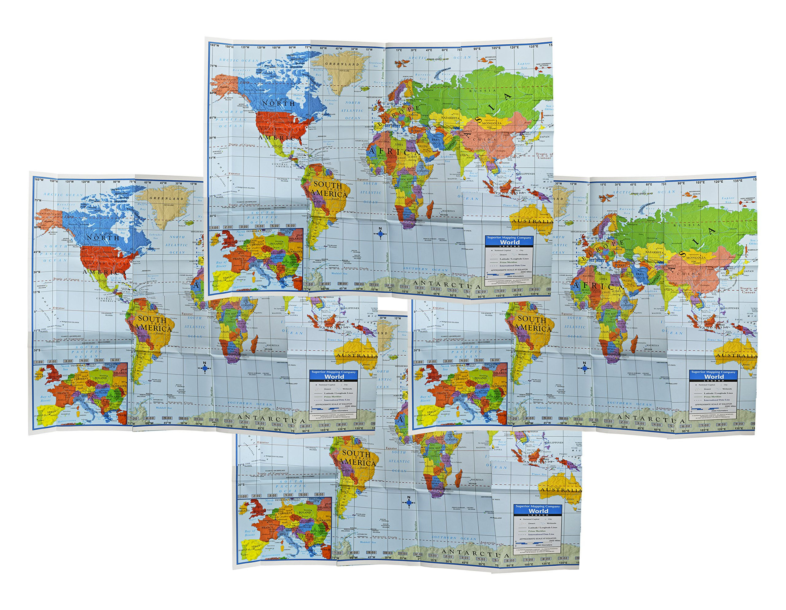 Set of 4 World Wall Maps! 40'' x 28'' Large Education World Map Posters Perfect for Classrooms, Home Use, Offices, and More!