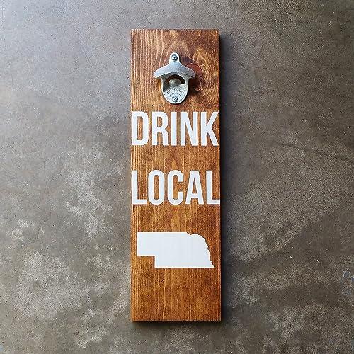 amazon com drink local custom state wood wall mount beer bottle