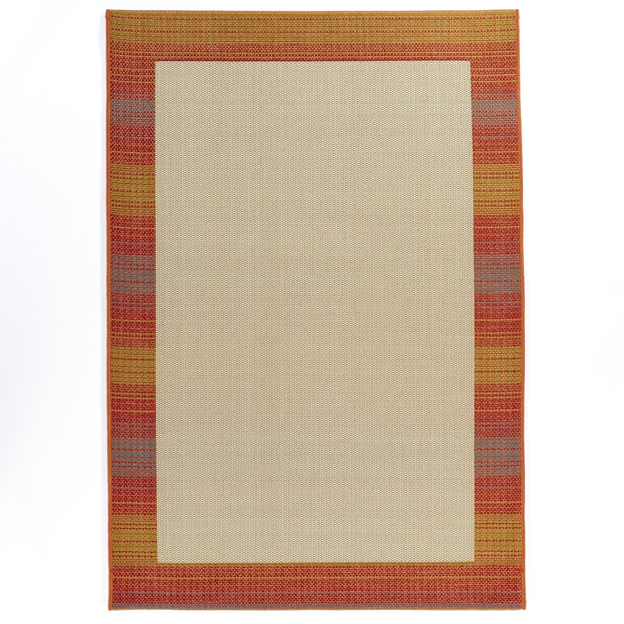 Carpet Art Deco Bellaire Collection Indoor Outdoor Rug, 5'3'' x7'5, Beige/Red