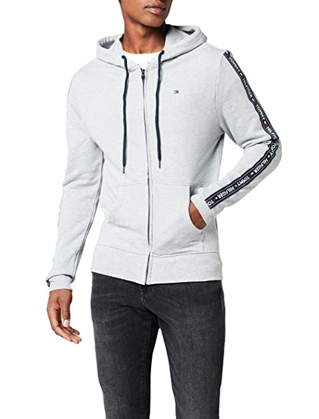 Tommy Hilfiger Mens Logo Sleeve Zip-Thru Hooded Jacket, Grey Melange at Amazon Mens Clothing store: