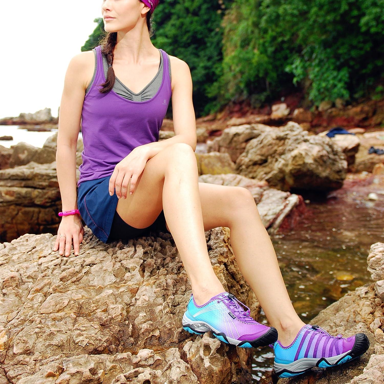 Clorts Womens Water Shoes Lightweight Quick Drying Hiking Sandal Kayaking Beach Trekking Walking Purple 3H020C US7.5