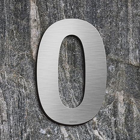 qobobo® Número Casa 0 Cero Signo Vivienda Calle de 304 Acero Inoxidable Cepillado , 200mm