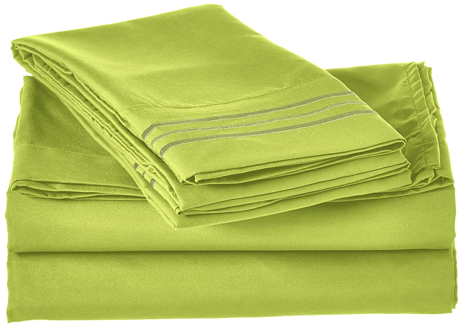 Egyptian Quality Super Soft Wrinkle Free 4-Piece Sheet Set, Queen, Lime-Green
