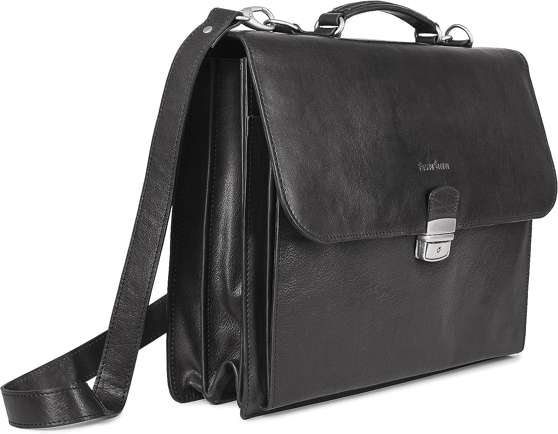 FEYNSINN Aktentasche echt Leder Emilio XL groß Businesstasche 15