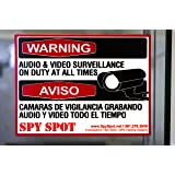 6 Pack Decal Self Adhesive Audio & Video Sign Vinyl Weatherproof Resistant CCTV Surveillance Stickers English