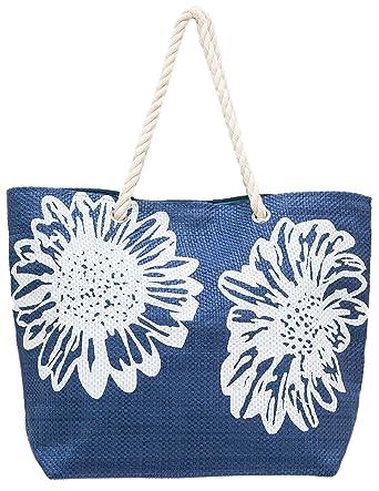 572c9d59a4676 Strandtasche Damen Schultertasche Shopper Sommer Tasche Blumen-Muster Airee  Fairee (Dunkelblau)