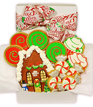 Happy Holiday Christmas Cookie Gift Basket Decorated Vanilla Sugar Cookies Set Of 11 Christmas