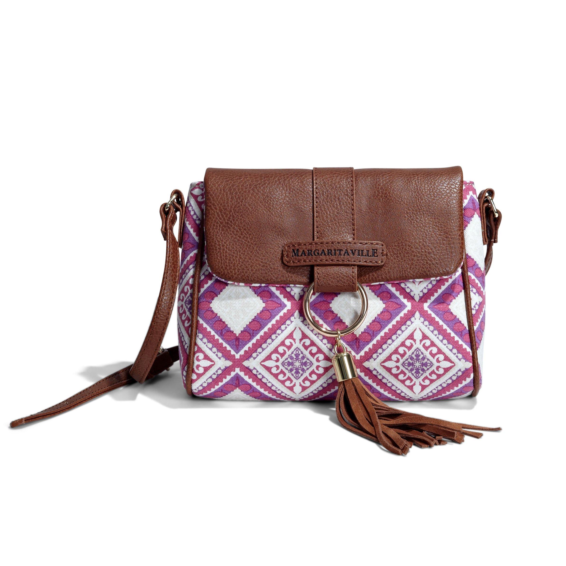 Margaritaville Womens Girls Carry Away Flap Crossbody Shoulder Bag Mosaic Fuchsia