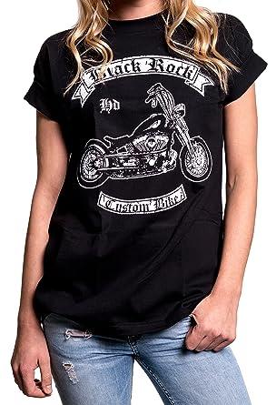 70ae425624aaca MAKAYA Biker Shirt - Damen Oberteile groß Größen - Rockige Motorrad T-Shirts  mit Aufdruck