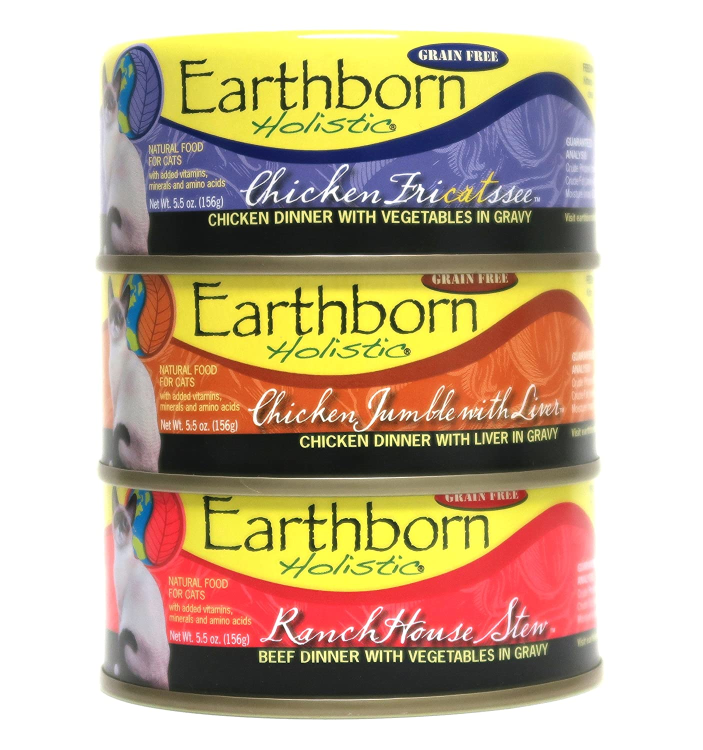 Earthborn Holistic Wet Cat Food Variety Pack - 3 Flavors (Chicken Jumble with Liver, RanchHouse Stew, and Chicken Fricatssee) - 5.5 Ounces Each (12 Total Cans)