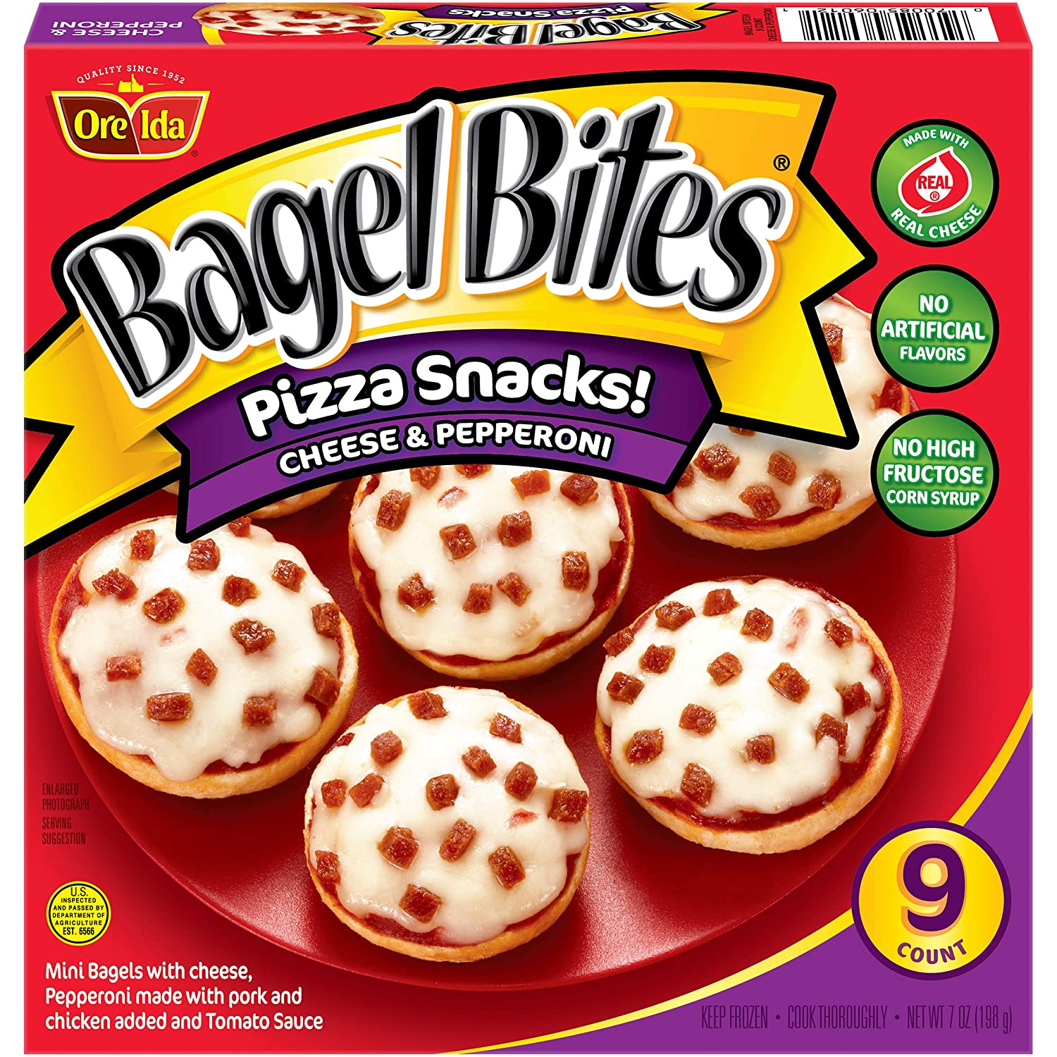 Bagel Bites, Cheese and Pepperoni, 9 Count, 7 oz (Frozen): Amazon.com: Grocery & Gourmet Food