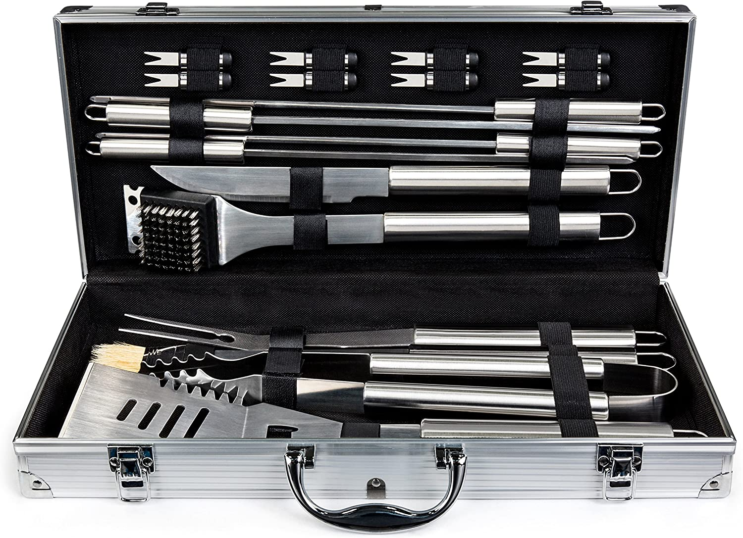 Best Choice Products BCP 19pc Stainless Steel BBQ Grill Tool Set With Aluminum S
