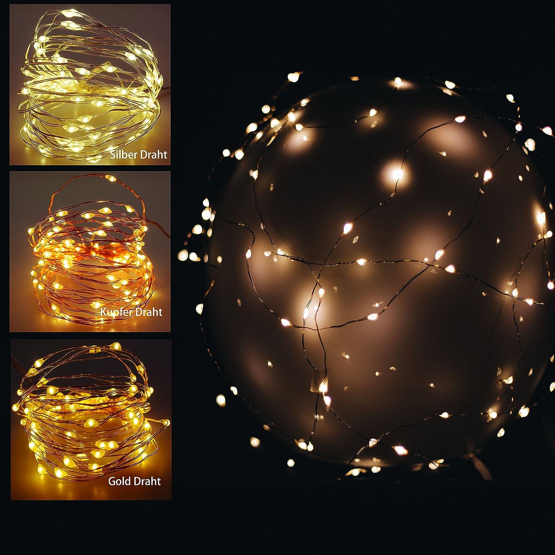 10 er LED Mikro Lichter auf Draht - kupfer - biegsame Lichterkette ...