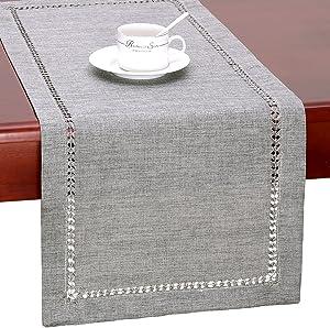 Grelucgo Handmade Hemstitch Gray Dining Table Runner Or Dresser Scarf, Rectangular 14 by 72 Inch