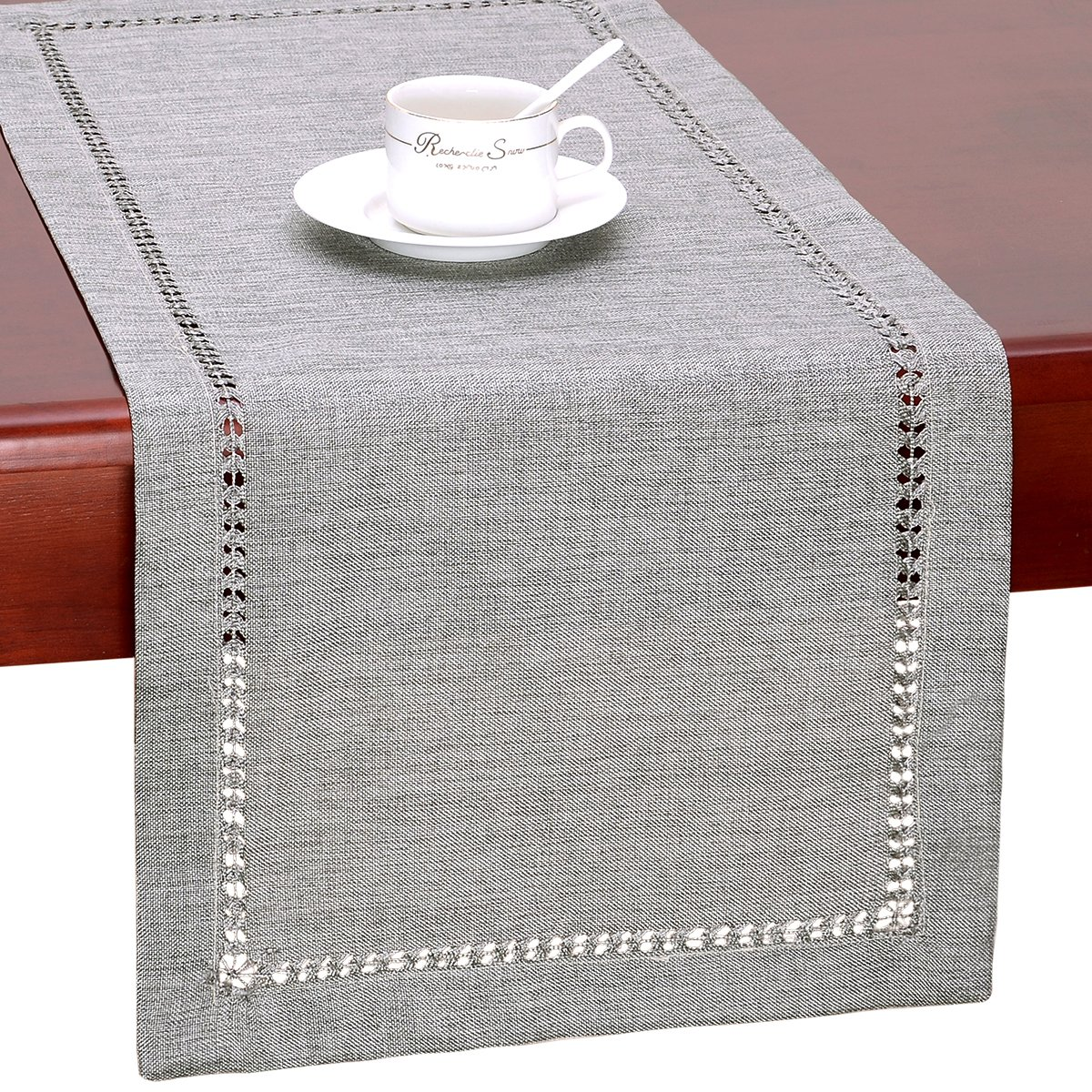 GRELUCGO Set of 4 Decorative Handmade Hemstitch Gray Dining Table Placemats, Rectangular 12 by 18 Inch Baishuo