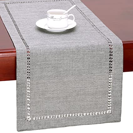 72 inch dining table rectangle pranzo rectangular grelucgo handmade hemstitch gray dining table runner or dresser scarf rectangular 14 by 72 inch amazoncom